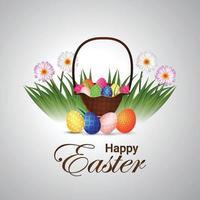 Pasen-illustratieachtergrond met kleurrijk beschilderd ei met mand