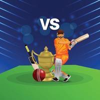 cricket league-wedstrijd met illustratie van cricketer vector