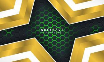 3d abstracte groen licht zeshoekige achtergrond met gouden en witte frame vormen. vector