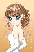 mooi en gelukkig meisje dat trouwjurk cartoon draagt