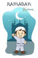 kleine gelukkige jongen bij ramadan kareem nacht cartoon afbeelding vector