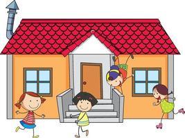 vooraanzicht van een huis met veel kinderen op witte achtergrond