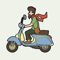 een man rijdende scooter vector