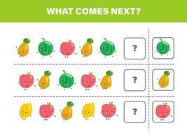 wat daarna komt met schattig fruit. cartoon vectorillustratie. logisch werkblad voor kinderen.