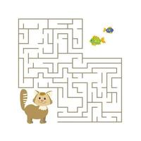 schattig cartoon kat doolhofspel. labyrint. grappig spel voor de opvoeding van kinderen. vector illustratie