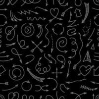 verschillende eenvoudige pijlen donker naadloos patroon