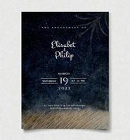zwarte aquarel bruiloft uitnodiging sjabloon vector