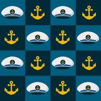 naadloze patroon hoed en anker nautisch. nautische illustraties vector
