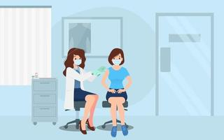 een arts in een kliniek die een coronavirusvaccin aan een vrouw geeft. vaccinatieconcept voor immuniteitsgezondheid. viruspreventie tot medische behandeling, immunisatieproces tegen covid-19 voor mensen.