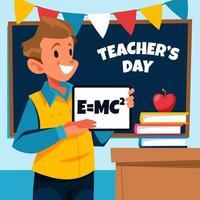 fijne lerarendag met mannelijke leraar vector
