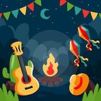 festa junina nacht achtergrond vector