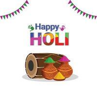 gelukkige holi-vieringsachtergrond met kleurrijke kleurenkom en kleurenmodder vector