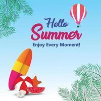zomertijd achtergrond met creatieve elementen van de zomer vector