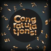 Gefeliciteerd. vector wenskaart met gouden confetti