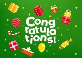 Gefeliciteerd. vakantie-accessoires en vector logo