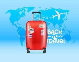terug naar reisconcept met moderne koffer vector