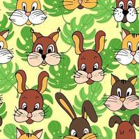 schattige snuiten van dieren katten konijntjes puppy's eekhoorns naadloze patroon, vector handgetekende afdrukken.