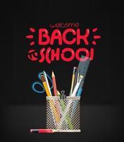 terug naar school-inscriptie. school briefpapier vector
