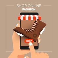 illustraties plat ontwerpconcept mobiele winkel online winkel. hand houden mobiele verkoop mode winkelen. vector