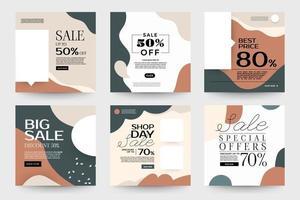 set verkoopsjablonen voor sociale media met organische vormen vector