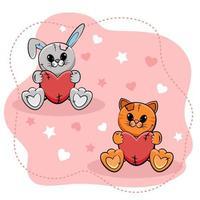 lief klein konijntje en katje met hartjes op roze achtergrond. vector illustratie.