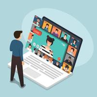 illustraties plat ontwerp concept videoconferentie. online vergaderwerk vanuit huis. oproep en live video. vector illustreren.