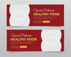 voedsel sociale media omslagfoto sjabloon set vector