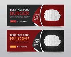 restaurant en eten sociale media omslagfoto set vector