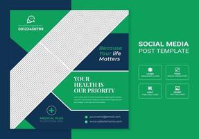 gezondheidszorg en medische sociale media plaatsen banner