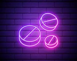 gloeiende neon lijn pillen pictogram geïsoleerd op bakstenen muur achtergrond. medisch medicijnpakket voor tabletvitamine, antibioticum, aspirine. vector illustratie