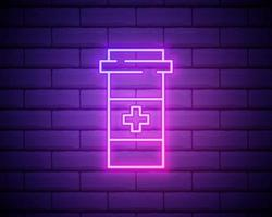 gloeiende neon lijn geneeskunde fles pictogram geïsoleerd op bakstenen muur achtergrond. fles pil teken. apotheek ontwerp. vector illustratie