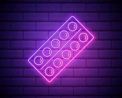 gloeiende neon lijn pillen in blisterverpakking pictogram geïsoleerd op bakstenen muur achtergrond. medisch medicijnpakket voor tabletvitamine, antibioticum, aspirine. vector illustratie