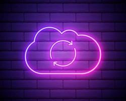 gloeiend neon wolk vernieuwen synchronisatiepictogram geïsoleerd op bakstenen muur achtergrond. wolk en pijlen. vector illustratie