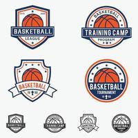basketbal badges logo's vector sjablonen ontwerpset