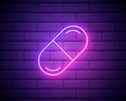 geneeskunde pil pictogram. elementen van web in neon stijliconen. eenvoudig pictogram voor websites, webdesign, mobiele app, info graphics geïsoleerd op bakstenen muur vector