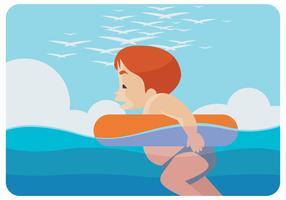 Een Kid Swimming Vector