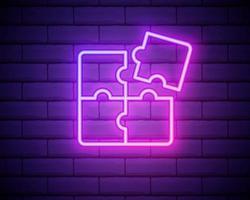 Vierdelige puzzel diagram neon pictogram. eenvoudige dunne lijn, overzichtsvector van onderwijspictogrammen voor ui en ux, website of mobiele applicatie vector