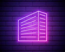 gebouw pictogram. elementen van bulding oriëntatiepunten in neon stijliconen. eenvoudig pictogram voor websites, webdesign, mobiele app, info graphics geïsoleerd op bakstenen muur