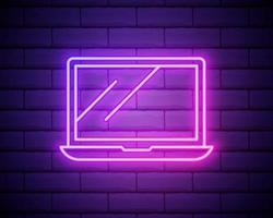 een laptop-pictogram. elementen van media in neonstijlpictogrammen. eenvoudig pictogram voor websites, webdesign, mobiele app, info graphics geïsoleerd op bakstenen muur. vector