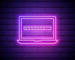 vector neon laptop met laadpictogram op het scherm, iets laden, technologie geïsoleerd op bakstenen muur achtergrondpictogram.