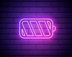 neon batterij opladen pictogram. oplader gloeiend teken. vector symbool van het opladen van de batterij geïsoleerd op bakstenen muur.