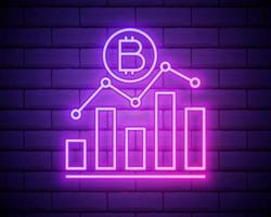 cryptocurrencies omhoog pictogram. elementen van bitcoin blockchain in neon stijliconen. eenvoudig pictogram voor websites, webdesign, mobiele app, info graphics geïsoleerd op bakstenen muur vector