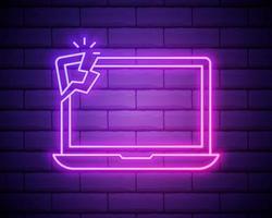 gloeiend neon gebroken laptop pictogram geïsoleerd op bakstenen muur achtergrond. afstellen, service, instelling, onderhoud, reparatie, reparatie. vector illustratie
