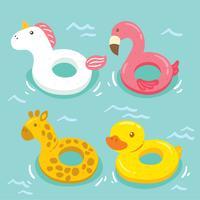 Schattig zwembad Inflatables Vector