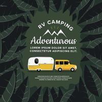 auto en camper camper rijden in het bos vector