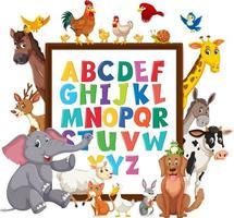 az alfabetbord met wilde dieren