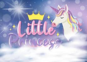 kleine prinses lettertype met eenhoorn stripfiguur in de pastel lucht vector