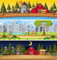 set van verschillende natuur horizontale scènes