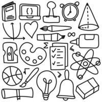 hand tekenen set onderwijs pictogrammen vector