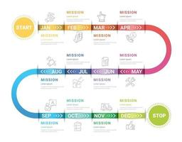 tijdlijn bedrijf voor 12 maanden, 1 jaar, tijdlijn infographics ontwerp vector en presentatie bedrijf kan worden gebruikt voor bedrijfsconcept met 12 opties, stappen of processen.